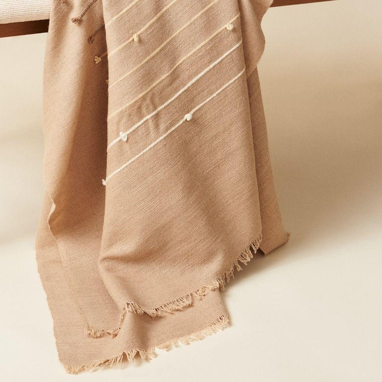 Yarn TERRA Handloom Merino Cotton Throw /  Blanket In Stripes Design, Neutral Color For Sale
