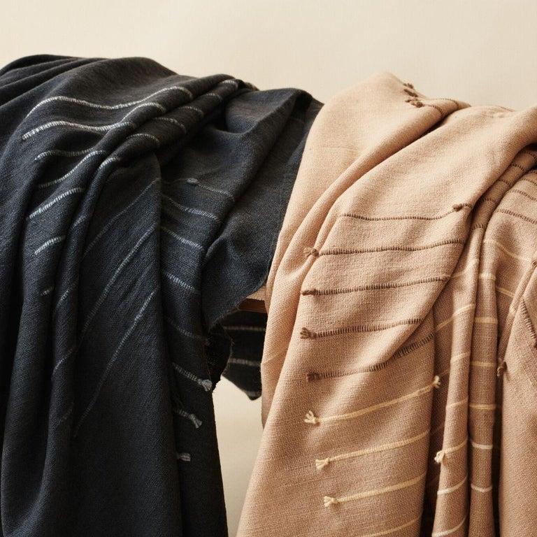 TERRA Handloom Merino Cotton Throw /  Blanket In Stripes Design, Neutral Color For Sale 7