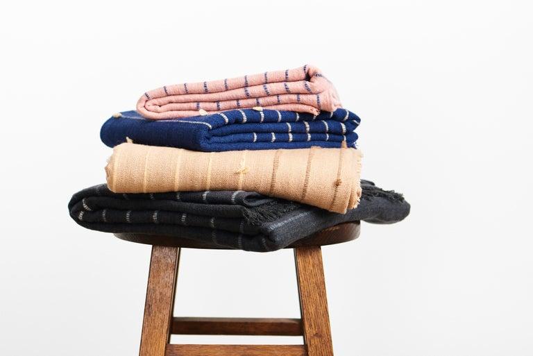 TERRA Handloom Merino Cotton Throw /  Blanket In Stripes Design, Neutral Color For Sale 8