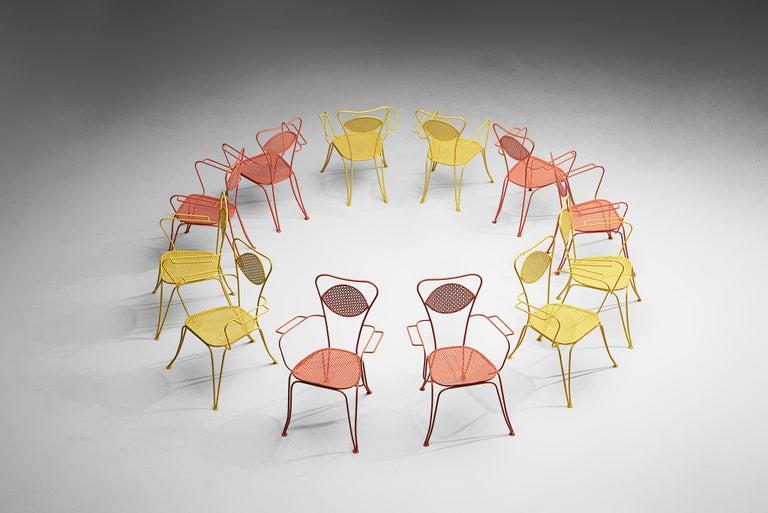 Mid-Century Modern Terra Rosa Orange Patio Outdoor Chair For Sale