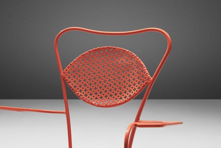 Metal Terra Rosa Orange Patio Outdoor Chair For Sale