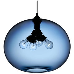 Terra Sapphire Handblown Modern Glass Pendant Light, Made in the USA