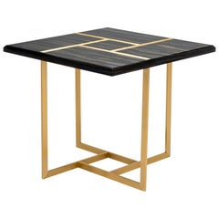 Terra Side Table in Ebony Makassar and Antique Brass Base and Trimmings