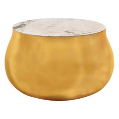 Terra Soprano Side Table in Brass with White Satuario Marble Top