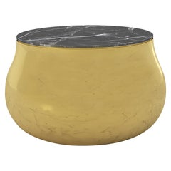 Terra Soprano Side Table in Brass with Black Marquina Marble Top