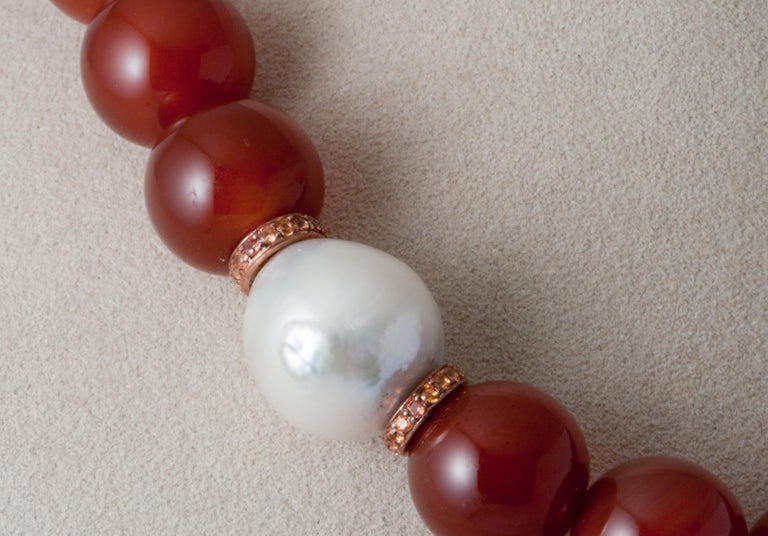 Contemporary Terracotta Agates Orange Sapphires and Freshwater Pearl Gold Beaded Necklace For Sale