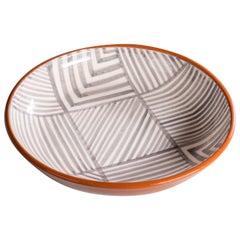 Terracota Ceramic Serving Bowl in Geometric Grey and White, In Stock