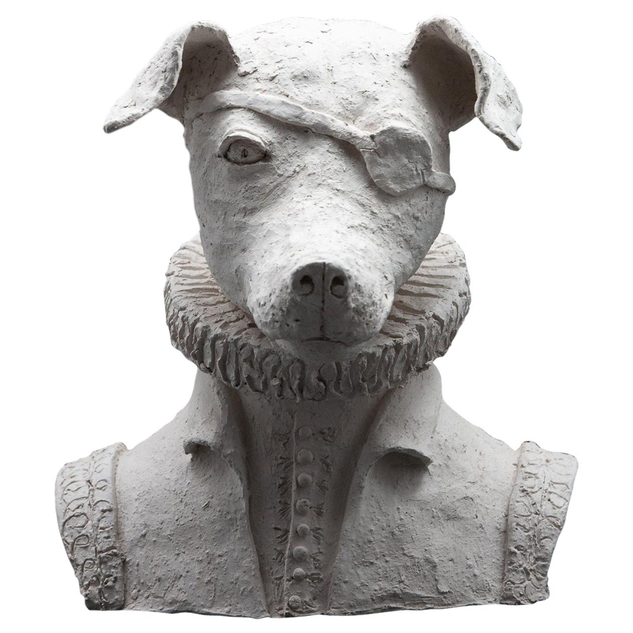 Terracotta Anthropomorphic Bust of Dog with Ruff and Eyepatch