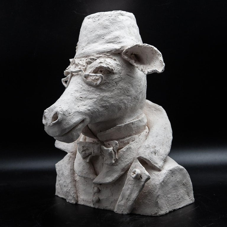 Terracotta anthropomorphic bust of donkey with fez and eyeglasses. A charming one-of-a-kind sculpture made in France. Measure: 14