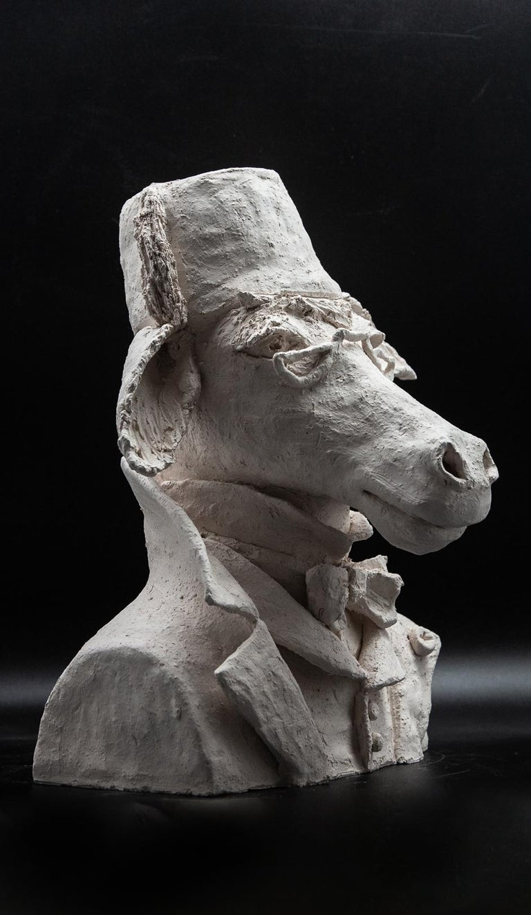 Other Terracotta Anthropomorphic Bust of Donkey with Fez and Eyeglasses For Sale