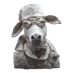 Terracotta Anthropomorphic Bust of Donkey with Fez and Eyeglasses