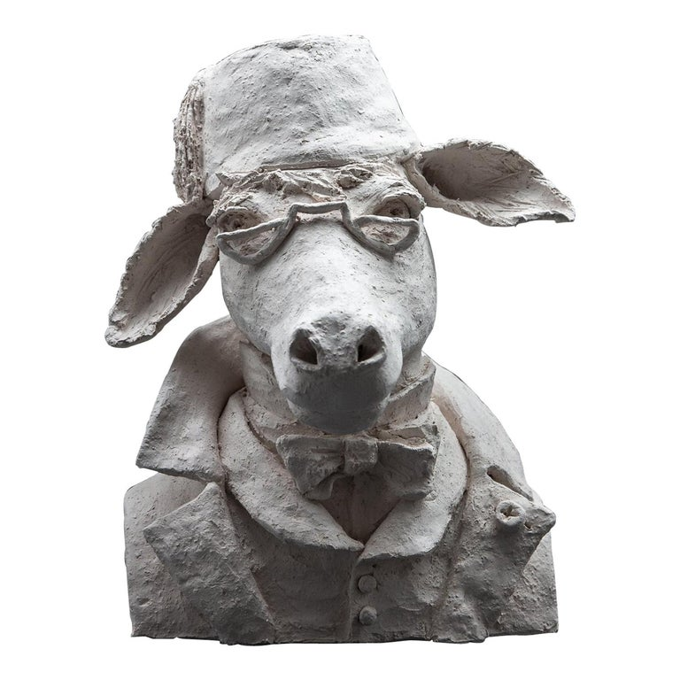 Terracotta Anthropomorphic Bust of Donkey with Fez and Eyeglasses For Sale