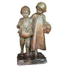 Terracotta Art Nouveau Statue Boy and a Girl, Stamped and Numbered