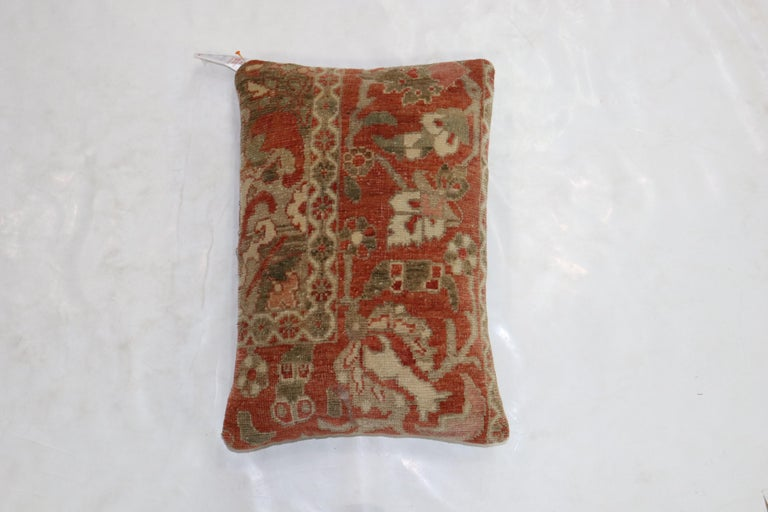 Pillow made from a Persian a Malayer rug. Terracotta, brown and ivory accents  Measures: 16