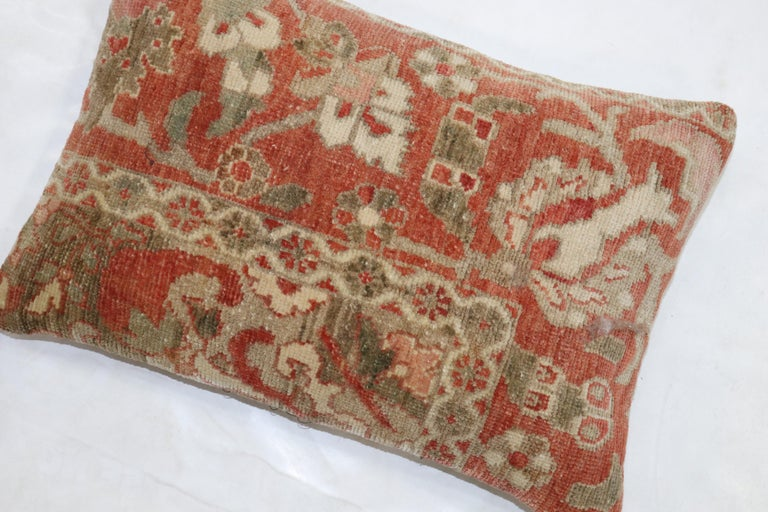 Tabriz Terracotta Brown Persian Rug Pillow For Sale