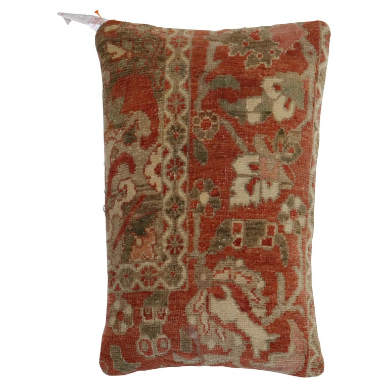Terracotta Brown Persian Rug Pillow For Sale