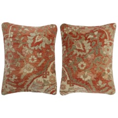 Terracotta Brown Persian Rug Pillows, Set of 2