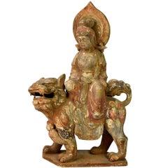 Terracotta Buddha Statue, Goddess of Wisdom, Tang Style Bodhisattva on Lion