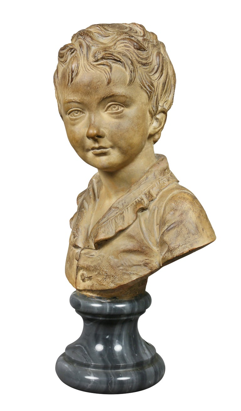 Louis XVI Terracotta Bust of a Young Boy by Houdon For Sale