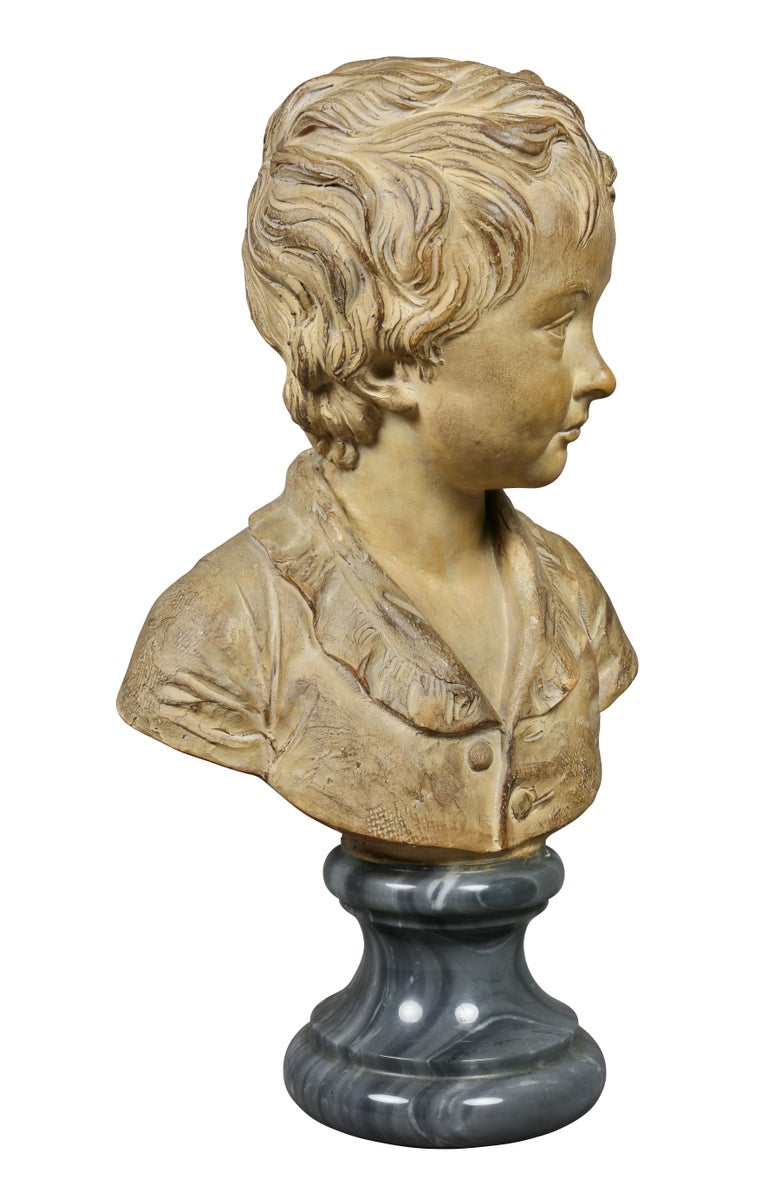 Terracotta Bust of a Young Boy by Houdon In Good Condition For Sale In Essex, MA