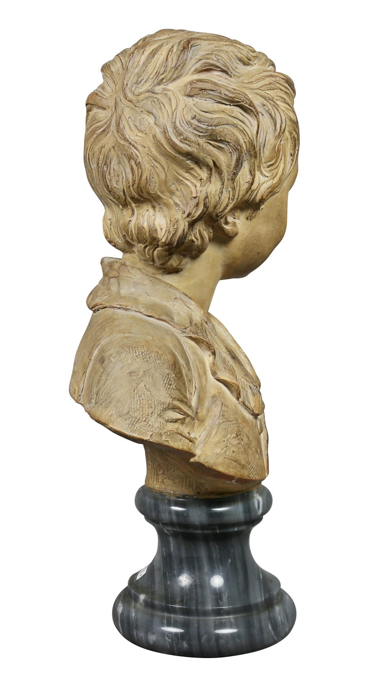 18th Century Terracotta Bust of a Young Boy by Houdon For Sale