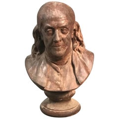 Terracotta Bust of Benjamin Franklin, After Houdon, 19th Century
