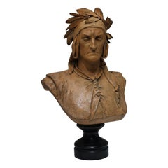 Terracotta Bust of Dante by A Carrier-Belleuse, 19th Century