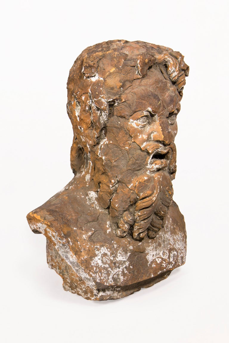 Terracotta bust sculpture of Bacchus, the God of wine original terracotta sculpture. Beautiful patina. 18th century, France Vintage condition.