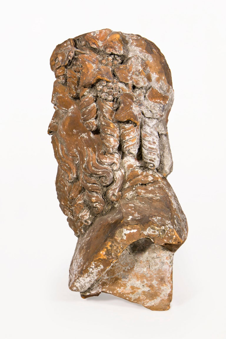 Terracotta Bust Sculpture of Bacchus, 18th Century, France In Good Condition For Sale In Girona, Spain