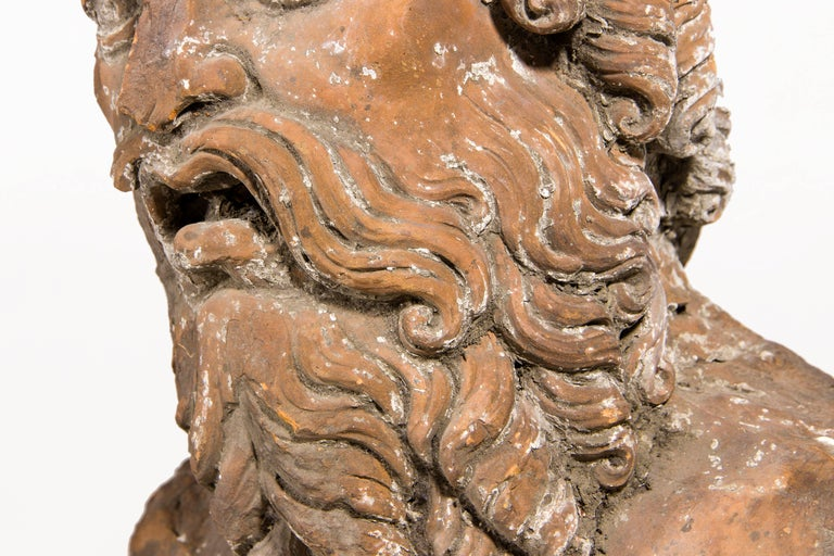 Terracotta Bust Sculpture of Bacchus, 18th Century, France For Sale 1