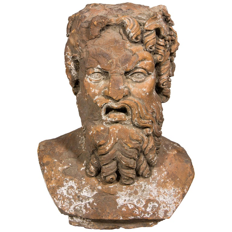 Terracotta Bust Sculpture of Bacchus, 18th Century, France For Sale