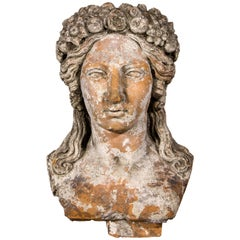 Terracotta Bust Sculpture of Persephone, 18th Century, France