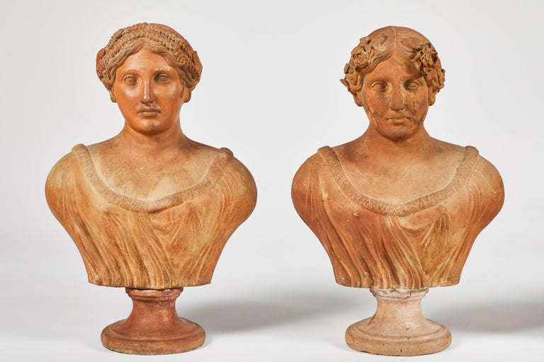 Wonderful set of terracotta busts of the seasons, set of four, Italy, 19th century.