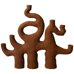 "Terracotta Clay Sea Candelabra ""Six Arms Three Legs"" by Jan Ernst de Wet"