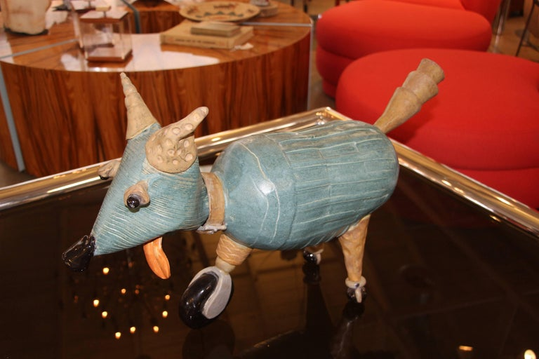 Terracotta Comic Caricature of a Dog on Wheels In Good Condition For Sale In Palm Springs, CA