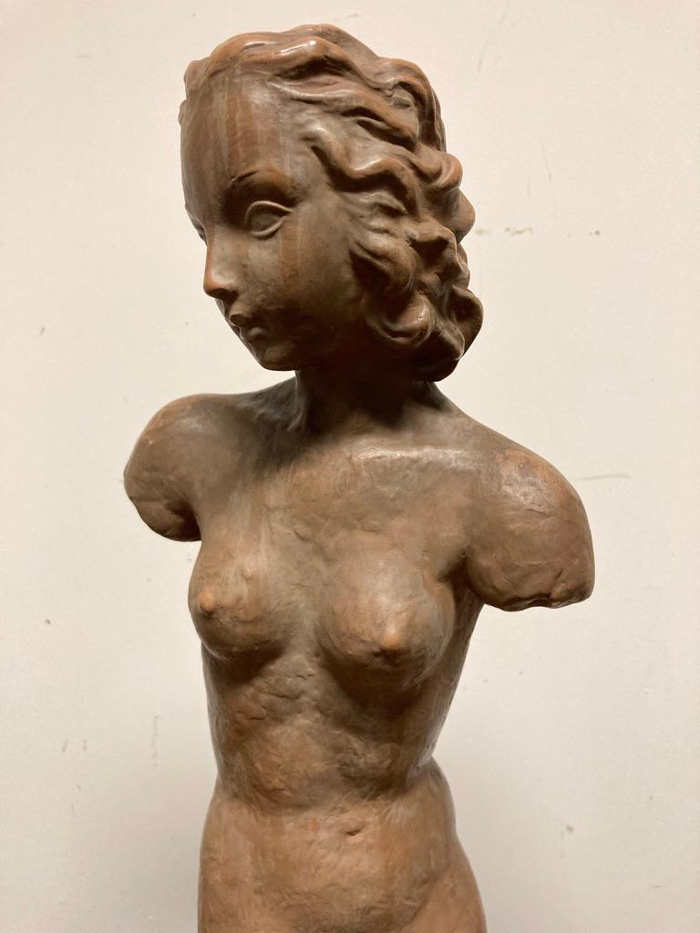 Terracotta Female Nude, Austrian Art Deco, Goldscheider, Vienna For Sale 4