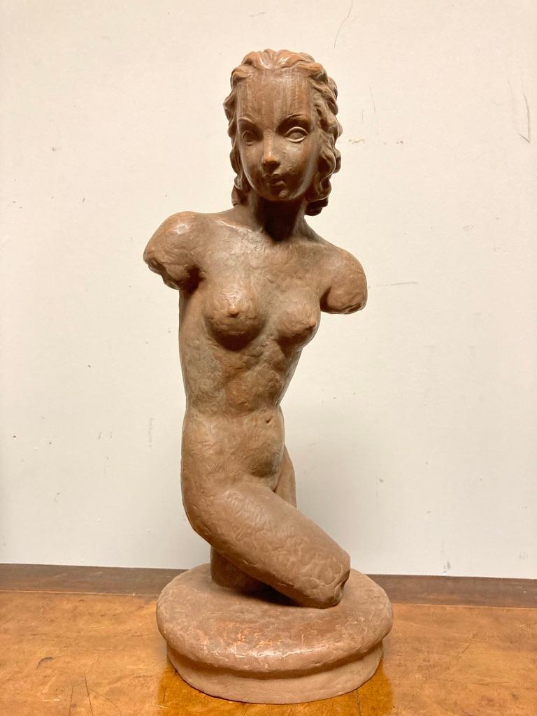 Glazed Terracotta Female Nude, Austrian Art Deco, Goldscheider, Vienna For Sale