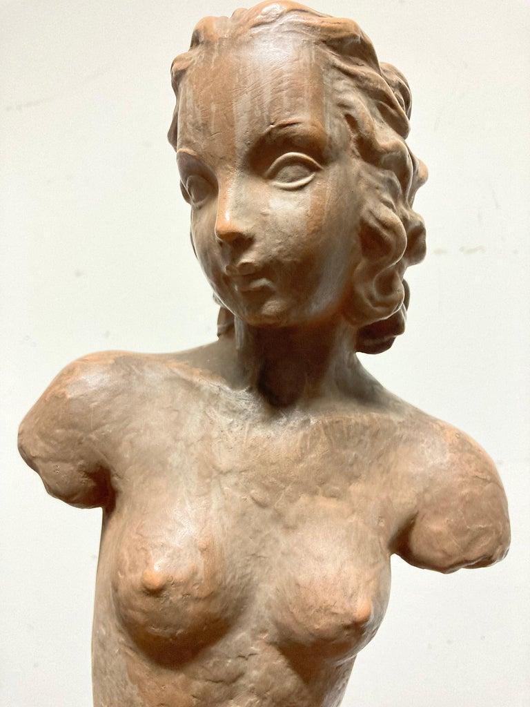 Terracotta Female Nude, Austrian Art Deco, Goldscheider, Vienna In Good Condition For Sale In Stamford, CT