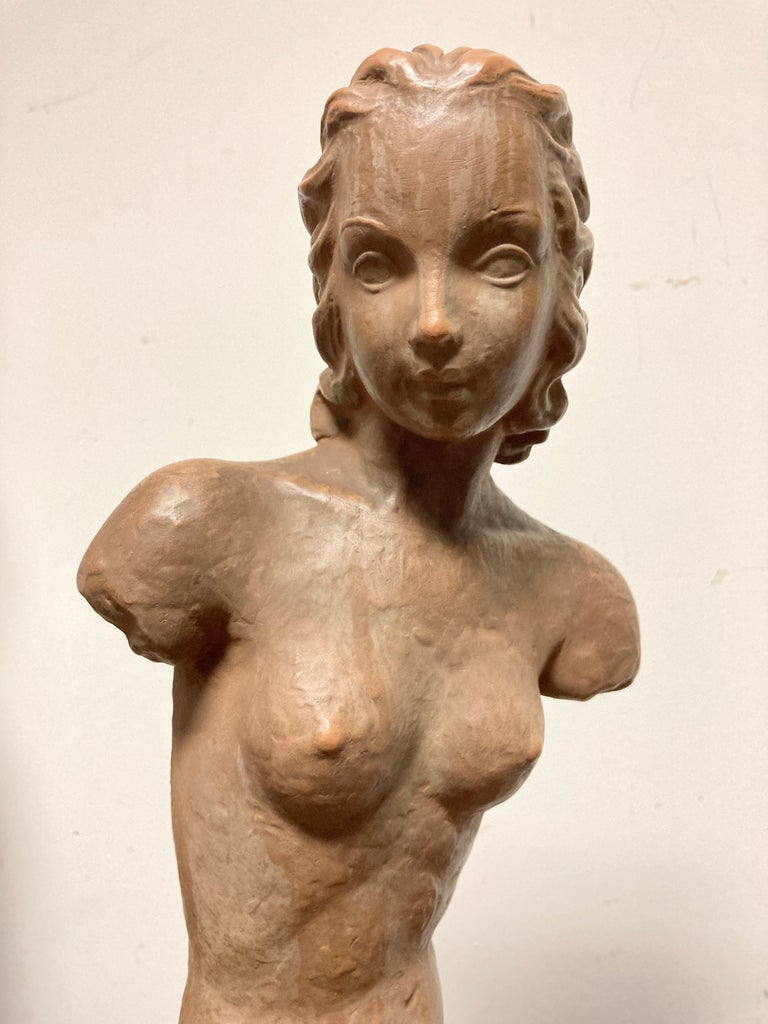 20th Century Terracotta Female Nude, Austrian Art Deco, Goldscheider, Vienna For Sale