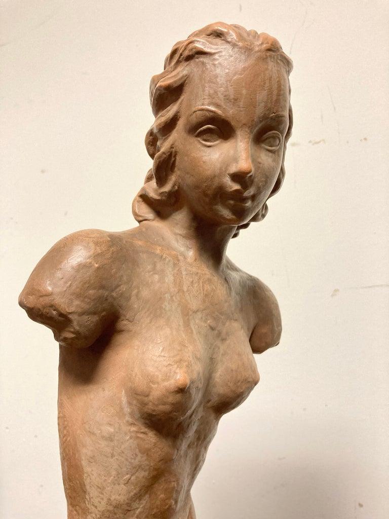 Ceramic Terracotta Female Nude, Austrian Art Deco, Goldscheider, Vienna For Sale
