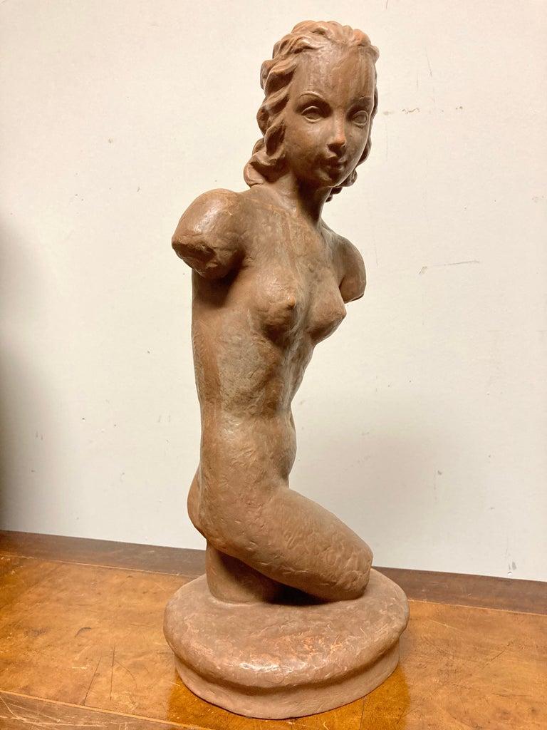 Terracotta Female Nude, Austrian Art Deco, Goldscheider, Vienna For Sale 1