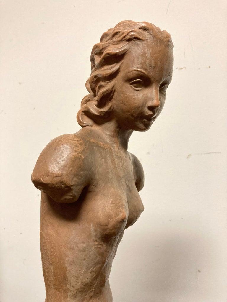 Terracotta Female Nude, Austrian Art Deco, Goldscheider, Vienna For Sale 3