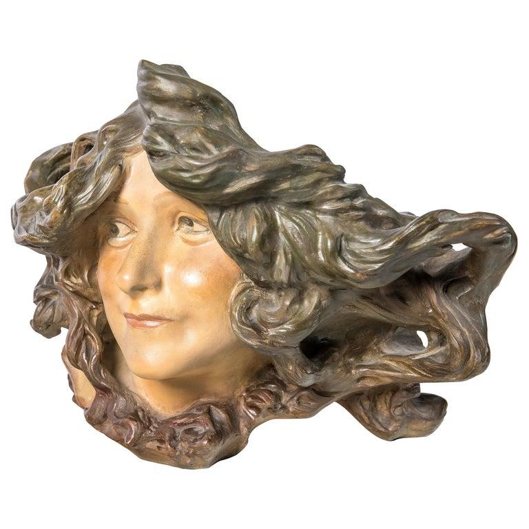 Terracotta Girl Face Jardinière, Signed L. Escaler, Barcelona, circa 1900 For Sale
