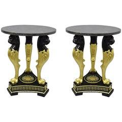Terracotta & Granite French Empire Black & Gold Figural Lion Centre Side Tables