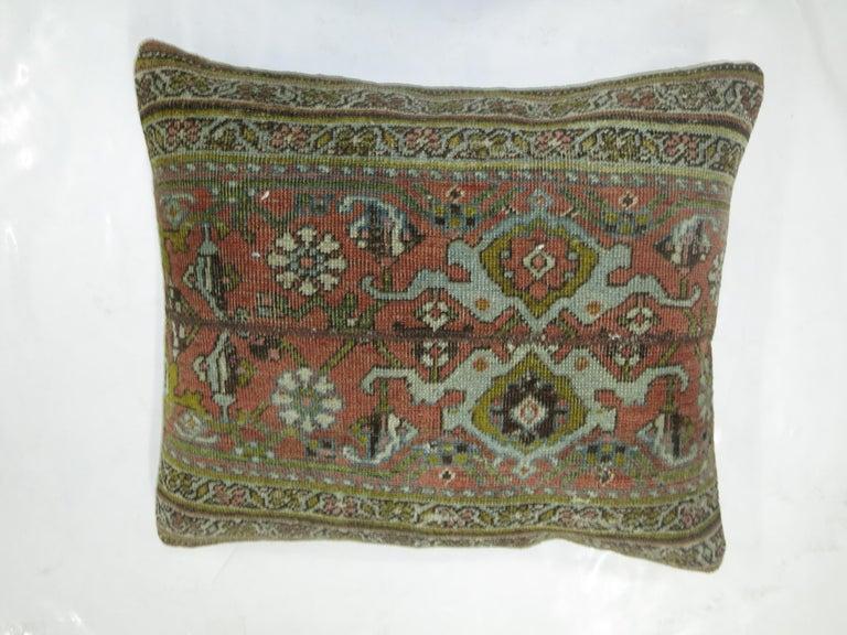 Gothic Terracotta Green Persian Bidjar Rug Border Pillow For Sale