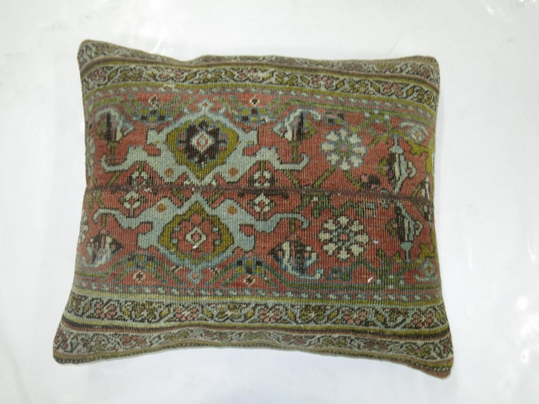 Terracotta Green Persian Bidjar Rug Border Pillow In Good Condition For Sale In New York, NY