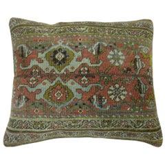 Terracotta Green Persian Bidjar Rug Border Pillow
