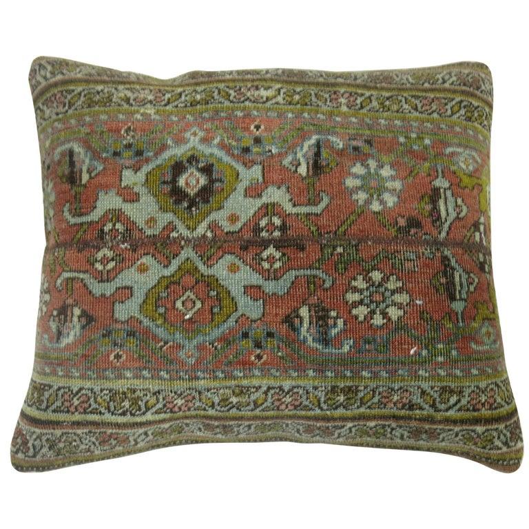 Terracotta Green Persian Bidjar Rug Border Pillow For Sale