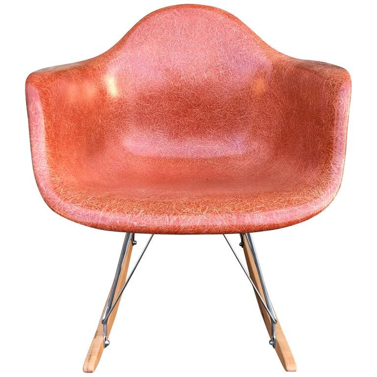 Terracotta Herman Miller Eames RAR Rocking Chair For Sale