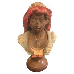 Terracotta Italian Bust of a Woman, circa 1900